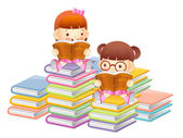 Girls are reading a large book. Education and life Character Des — Wektor stockowy
