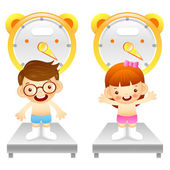 Boy and girl is weigh oneself. Education and life Character Desi — Stock Vector