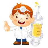 Little doctor Kid is holding a large dice. Education and life Ch — Stock Vector