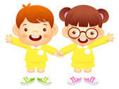 Boy and girl is standing affectionately press hands. Education a — Stock Vector