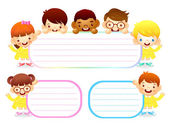 Boys and girls is holding a big board. Education and life Charac — Stock Vector