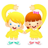 Boy and girl holding hands tenderly, makes a love gesture. Educa — Stock Vector
