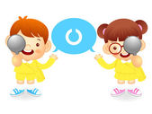 Boy and girl is have one's eyesight test. Education and life Cha — Stock Vector