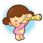 Chica está viendo telescopio. diseño de personajes de vida y educación — Vector de stock