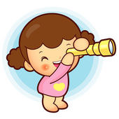 Kızım, teleskop izliyor. eğitim ve yaşam karakter tasarımı — Stok Vektör