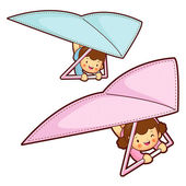 Boy and girl is riding a hang gliding in the sky. Education and — Cтоковый вектор