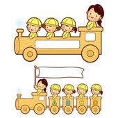 The train trip is an enjoyable kindergarten student. Education a — Stock Vector