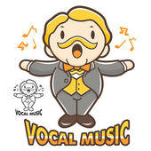 Department of Vocal Music mascot. Education and life Character D — Stock Vector