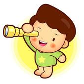 αγόρι παρακολουθεί τηλεσκόπιο. εκπαίδευση και ζωή χαρακτήρα s σχεδιασμό — Διανυσματικό Αρχείο