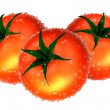 Stock Photo: Three Red tomato covered with waterdrops. Foods and Dishes Serie