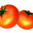 Two Fresh Red tomatos. Foods and Dishes Series. — Foto de Stock