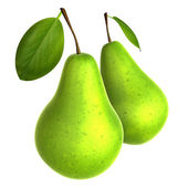 Two Fresh Yellow Green color Pear. Foods and Dishes Series. — Stock Photo