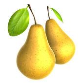 Zwei frische farbe beige birne. lebensmittel und speisen-serie. — Stockfoto