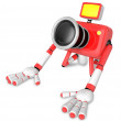 Stock Photo: Red CamerCharacter kneel in prayer. Create 3D CamerRobot Ser