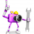 The left hand Holding a Spanner Engineer Purple Camera Character — Stock Photo #31343893