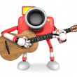 To the front toward the red Camera Character playing the guitar. — Stock Photo