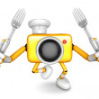 Yellow Camera Character Cook camera in both hands to hold a fork — Stock Photo