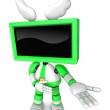 Green TV character are kindly guidance. Create 3D Television Rob — Stock Photo