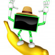 TV character standing on a big banana. Create 3D Television Robo — Stock Photo