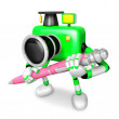 Green Camera Character ballpoint pen a handwriting. Create 3D Ca — Stock Photo