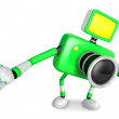 Green camera Character Kindly guide. Create 3D Camera Robot Seri — Stock Photo