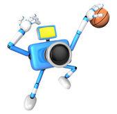 Cámara azul characte jugando un tiro dunk. crear 3d cámara robot — Foto de Stock