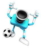 Starke kamera 3d-charakter treten einen fußball. erstellen von 3d kam — Stockfoto