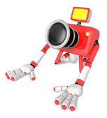 Red Camera Character kneel in prayer. Create 3D Camera Robot Ser — Stock Photo