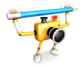 Yellow camera with both hands holding a large pencil. Create 3D — Stock Photo