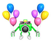 Green camera character to the event activity. Create 3D Camera R — Stock Photo