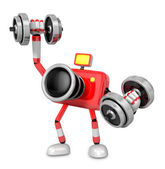 3D Red Camera character a Dumbbell one Easy Clean Exercise. Crea — Stock Photo
