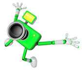 The Green Camera Character in Dynamic photos of the jump shot ca — Stock Photo