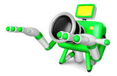 Green Camera Character kneel in prayer. Create 3D Camera Robot S — Stock Photo