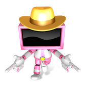 Magenta TV character are kindly guidance. Create 3D Television R — Stock Photo