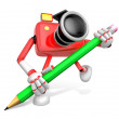 Red Camera Character pencil a handwriting. Create 3D Camera Robo — Stock Photo