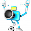 Strong 3d Camera character kicking a soccer ball. Create 3D Came — Stock Photo