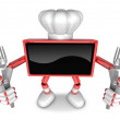 Red TV Character Chef in both hands to hold a fork. Create 3D Te — Stock Photo