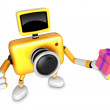 3D Yellow Camera character holding a gift. Create 3D Camera Robo — Stock Photo