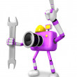 Stock Photo: Left hand Holding Spanner Engineer Purple CamerCharacter
