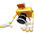 The Yellow Camera Character is push-up. Create 3D Camera Robot S — Stock Photo