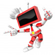 Red TV character are kindly guidance. Create 3D Television Robot — Stock Photo