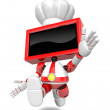 Red TV character is powerful running. Create 3D Television Robot — Stock Photo