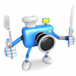 Stock Photo: Chef Blue CamerCharacter right hand, Fork in left hand hol