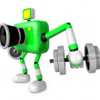 3D Green Camera character a Dumbbell Kick Back Exercise. Create — Stock Photo