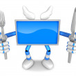 Stock Photo: Blue TV Character Chef in both hands to hold fork and Knife. C