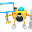 Stock Photo: Left hand Holding board Engineer Yellow CamerCharacter