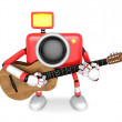 图库照片: To the front toward the red Camera Character playing the guitar.