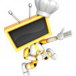 Yellow TV character are kindly guidance. Create 3D Television Ro — Stock Photo