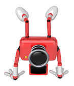 A Red Camera Character on handstanding. Create 3D Camera Robot S — Stockfoto
