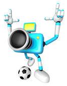Silne 3d charakter aparat kopanie piłki nożnej. tworzenie 3d przyszedł — Zdjęcie stockowe